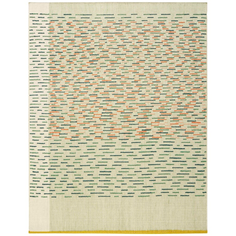 For Sale: Green GAN Handloom Backstitch Busy Small Rug by Raw-Edges