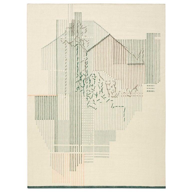 For Sale: Green GAN Handloom Backstitch Composition Large Rug by Raw-Edges