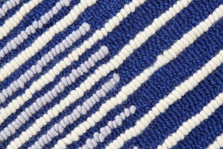 Modern GAN Hand Tufted Ply Rug in Blue by MUT Design For Sale