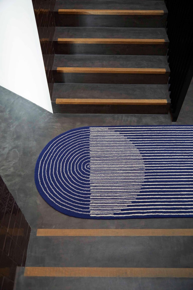 GAN Hand Tufted Ply Rug in Blue by MUT Design In New Condition For Sale In New York, NY