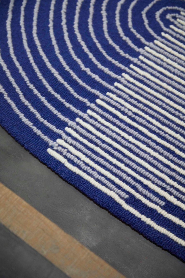 Contemporary GAN Hand Tufted Ply Rug in Blue by MUT Design For Sale