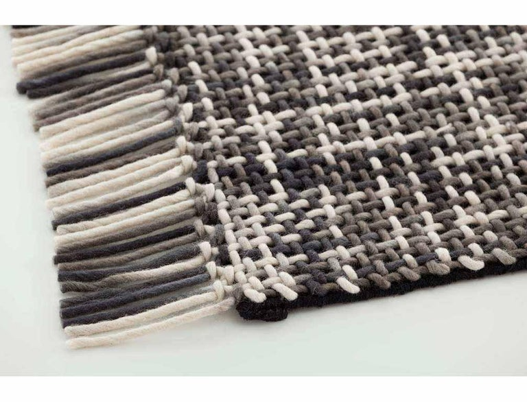 Modern GAN Lama Rug in Gray and Black with White Fringe Trim For Sale