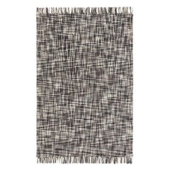 GAN Lama Rug in Gray and Black with White Fringe Trim