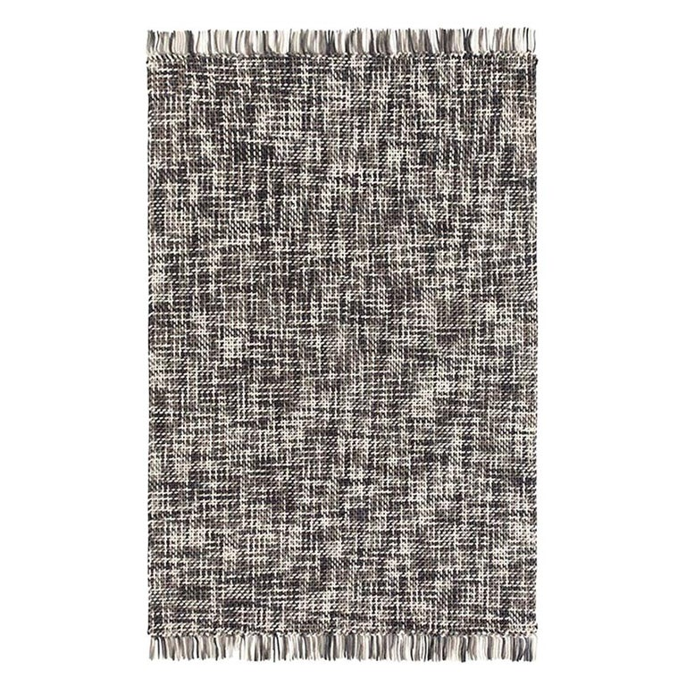 GAN Lama Rug in Gray and Black with White Fringe Trim For Sale