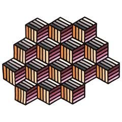 GAN Parquet Hexagon Rug in Orange Wool by Front