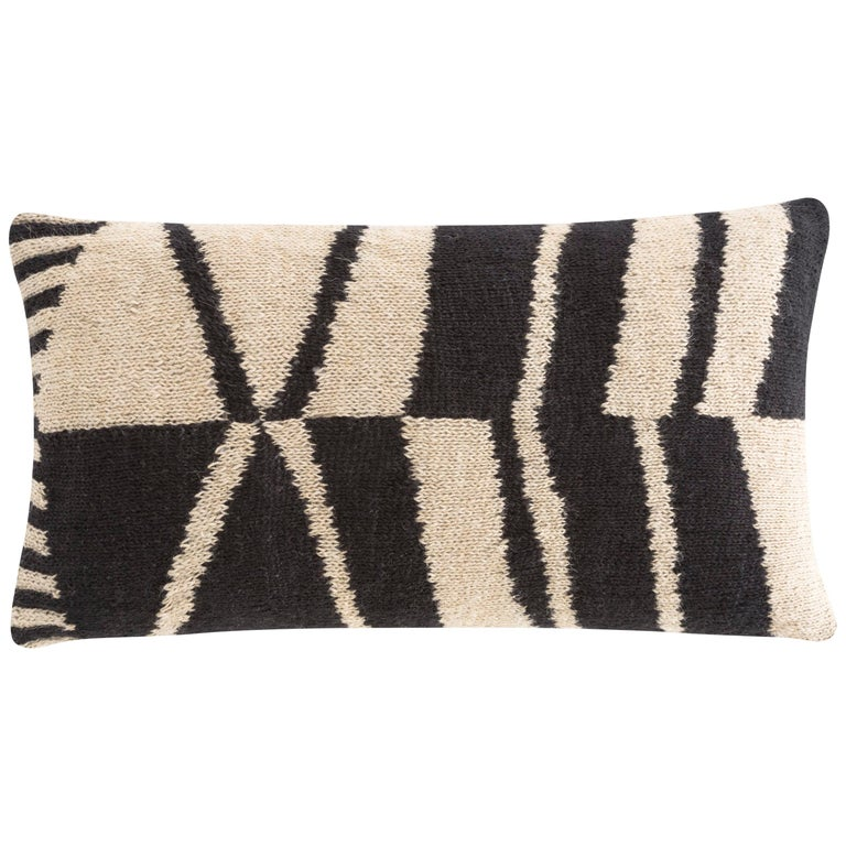 For Sale: undefined (Black) GAN Rustic Chic Flower Pillow in Jute