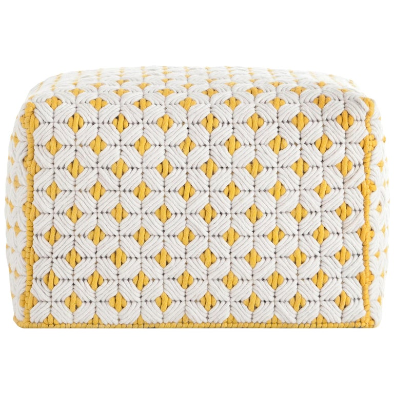 For Sale: undefined (White) GAN Silaï Small Pouf in Wool