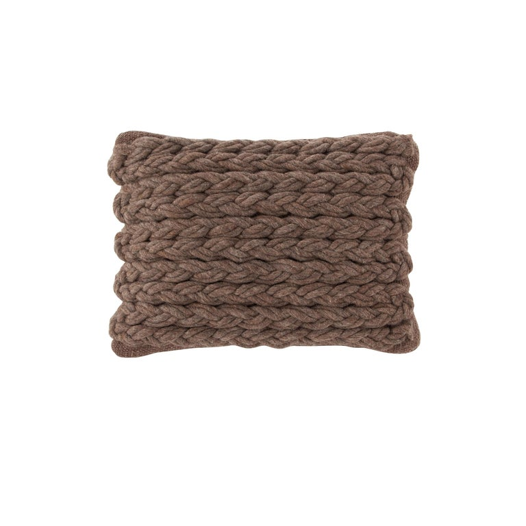 For Sale: undefined (Brown) GAN Trenzas Pillow in Braided Wool