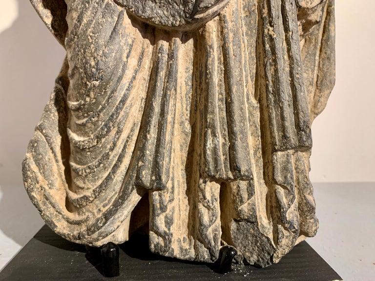 Gandharan Standing Bodhisattva Maitreya, Carved Black Schist, 2nd-4th Century For Sale 4