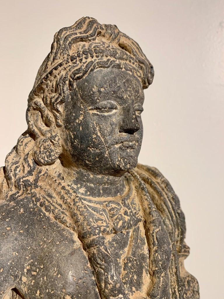 Gandharan Standing Bodhisattva Maitreya, Carved Black Schist, 2nd-4th Century For Sale 5