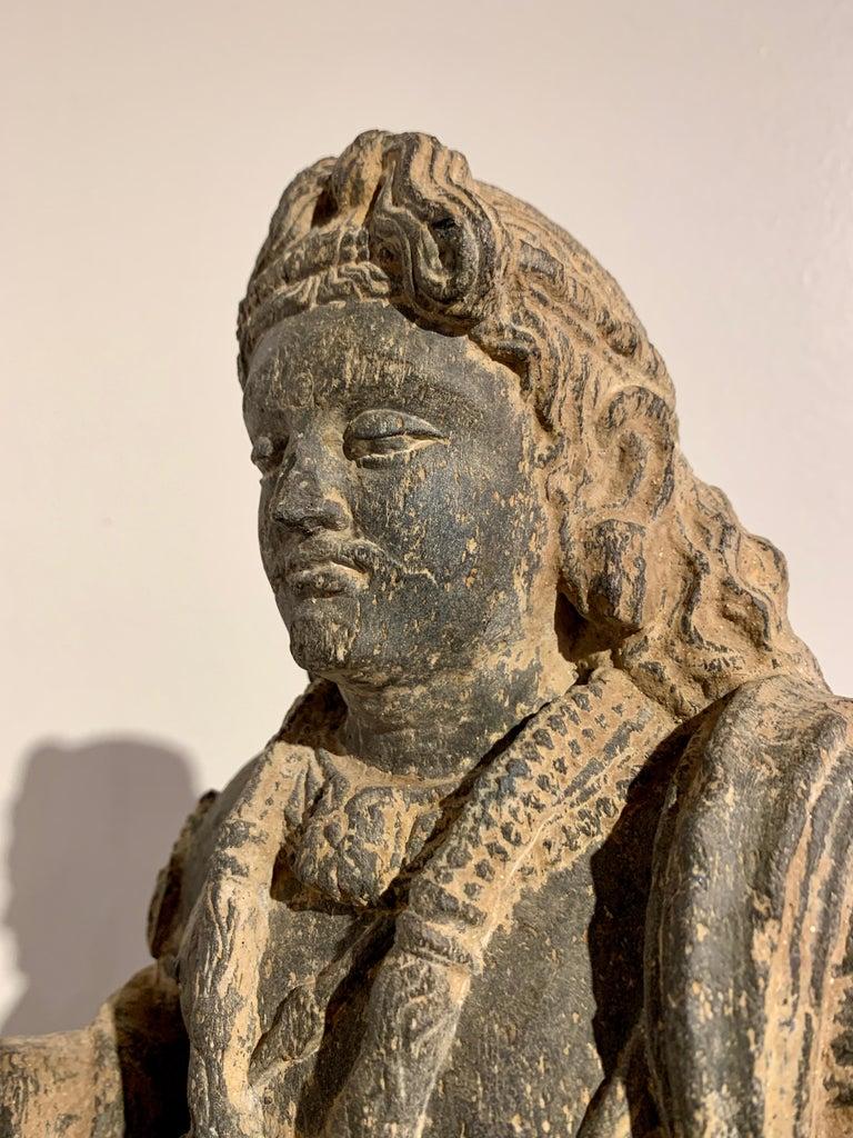 Gandharan Standing Bodhisattva Maitreya, Carved Black Schist, 2nd-4th Century For Sale 6