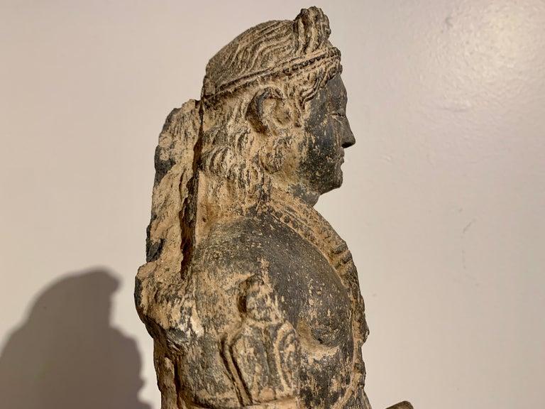 Gandharan Standing Bodhisattva Maitreya, Carved Black Schist, 2nd-4th Century For Sale 7