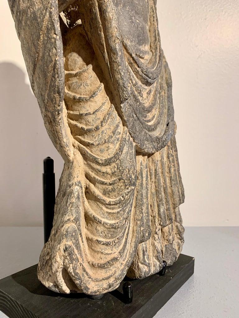 Gandharan Standing Bodhisattva Maitreya, Carved Black Schist, 2nd-4th Century For Sale 8