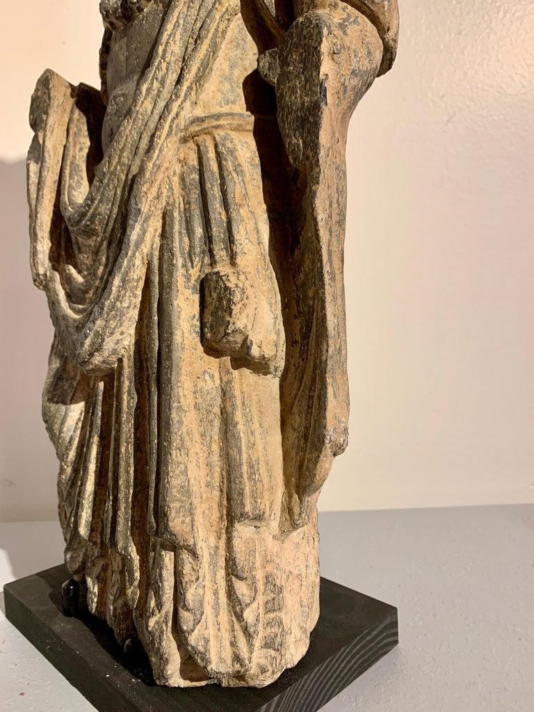 Gandharan Standing Bodhisattva Maitreya, Carved Black Schist, 2nd-4th Century For Sale 9
