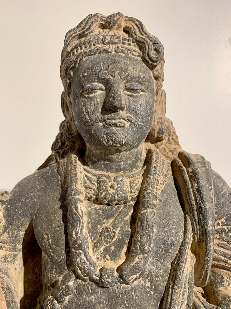Gandharan Standing Bodhisattva Maitreya, Carved Black Schist, 2nd-4th Century For Sale 10