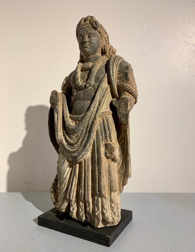 Pakistani Gandharan Standing Bodhisattva Maitreya, Carved Black Schist, 2nd-4th Century For Sale