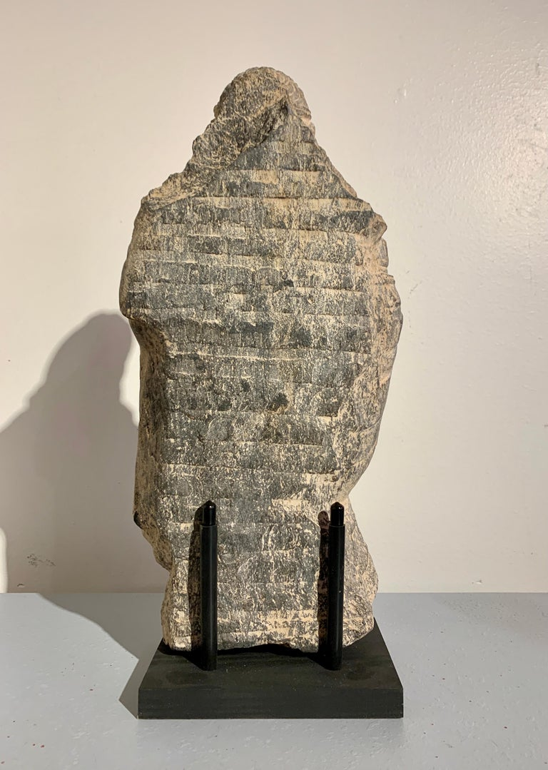 Hand-Carved Gandharan Standing Bodhisattva Maitreya, Carved Black Schist, 2nd-4th Century For Sale