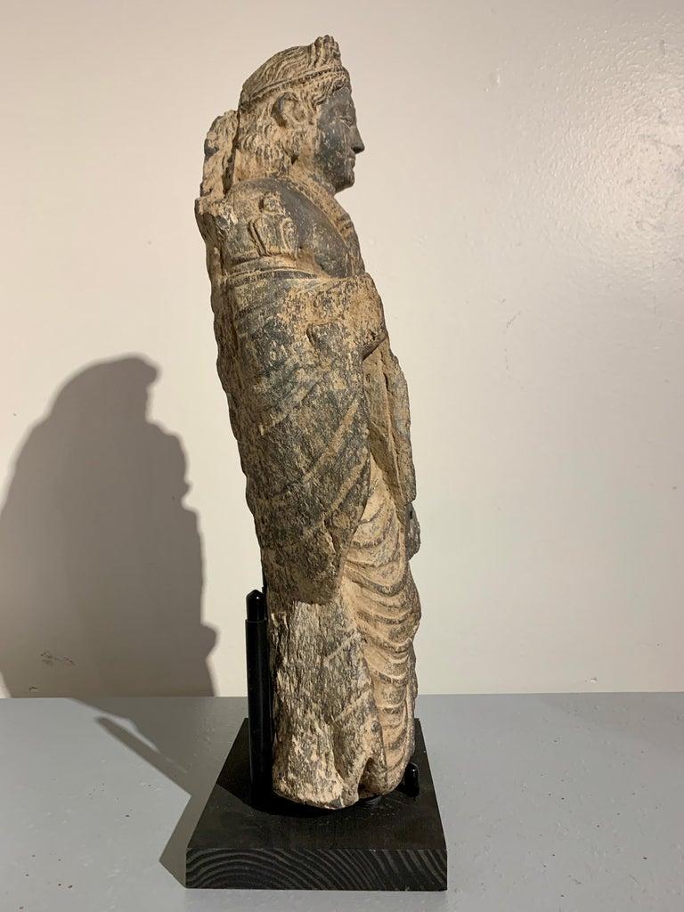 Gandharan Standing Bodhisattva Maitreya, Carved Black Schist, 2nd-4th Century In Fair Condition For Sale In Austin, TX