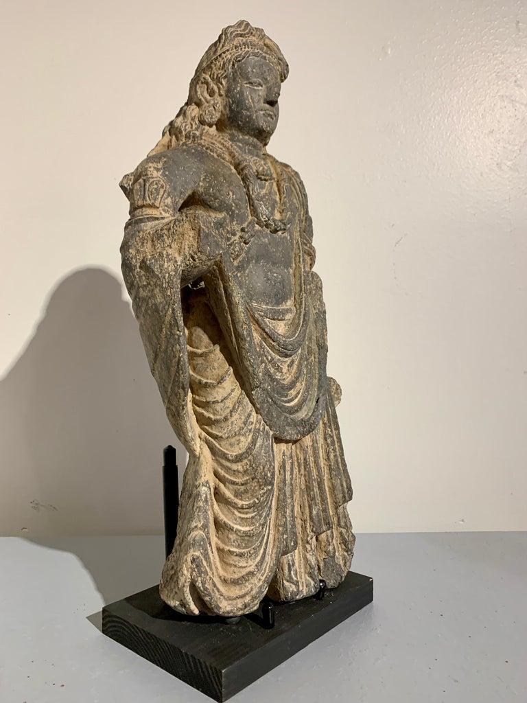 18th Century and Earlier Gandharan Standing Bodhisattva Maitreya, Carved Black Schist, 2nd-4th Century For Sale