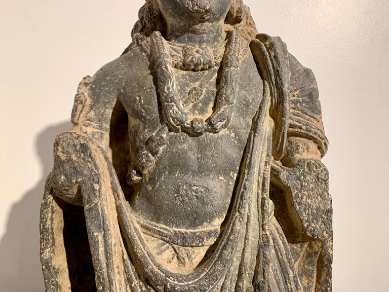 Gandharan Standing Bodhisattva Maitreya, Carved Black Schist, 2nd-4th Century For Sale 2