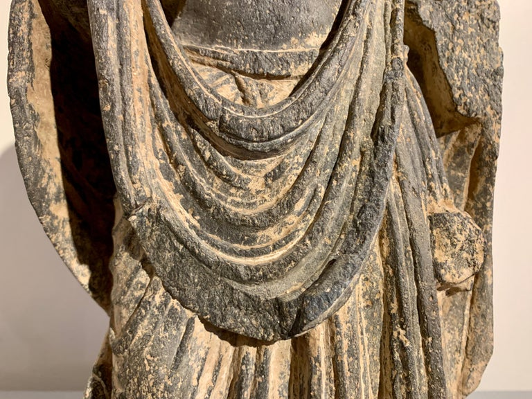 Gandharan Standing Bodhisattva Maitreya, Carved Black Schist, 2nd-4th Century For Sale 3