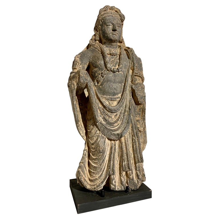 Gandharan Standing Bodhisattva Maitreya, Carved Black Schist, 2nd-4th Century For Sale
