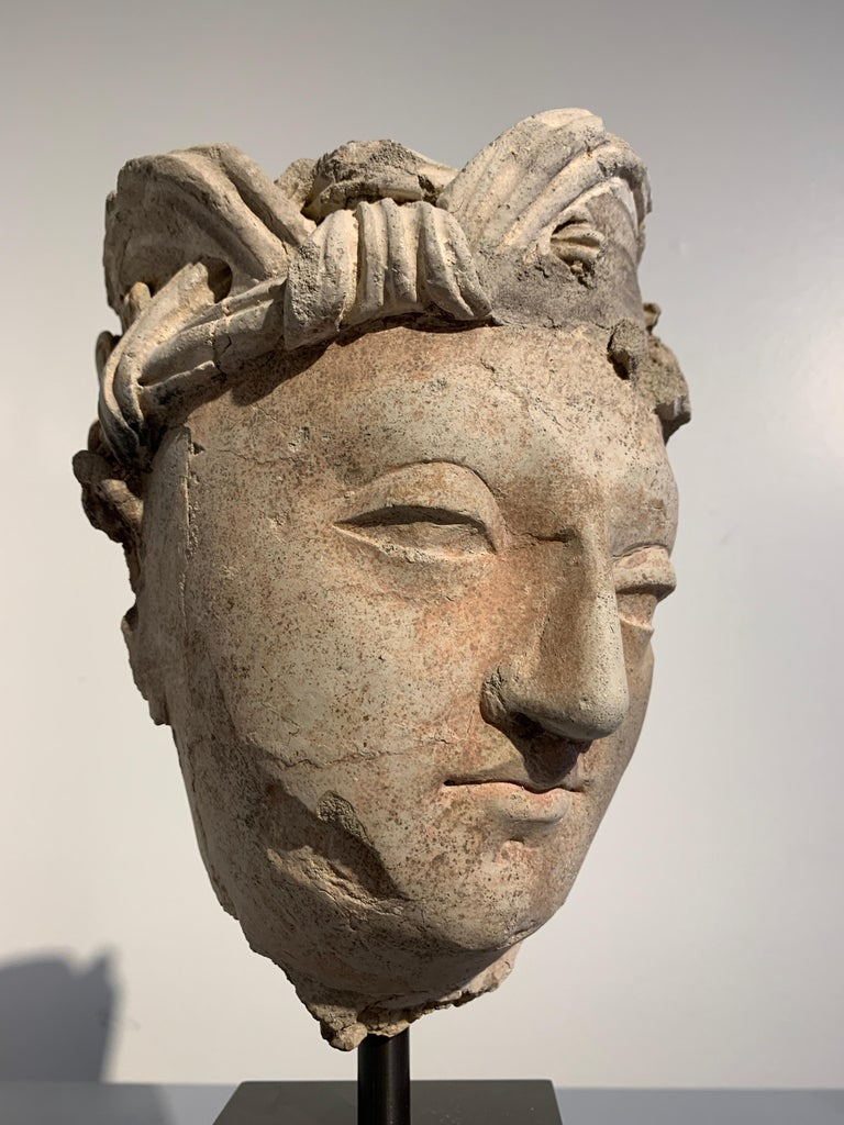 Gandharan Stucco Head of a Bodhisattva, Region of Hadda, 3rd-5th Century For Sale 3