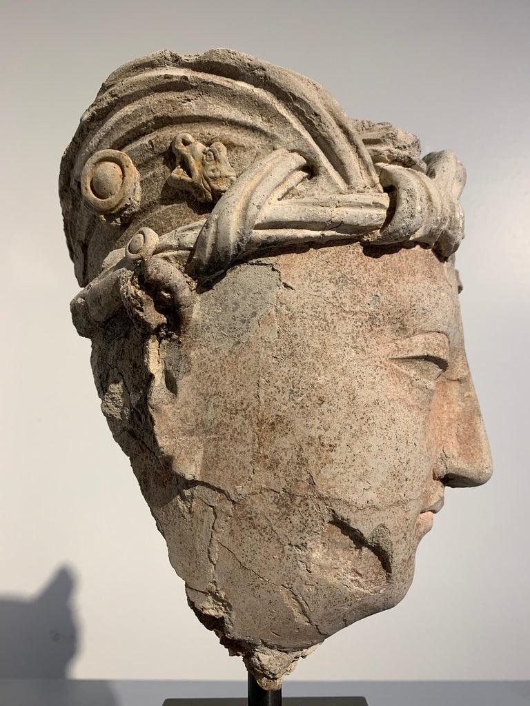 Gandharan Stucco Head of a Bodhisattva, Region of Hadda, 3rd-5th Century For Sale 6