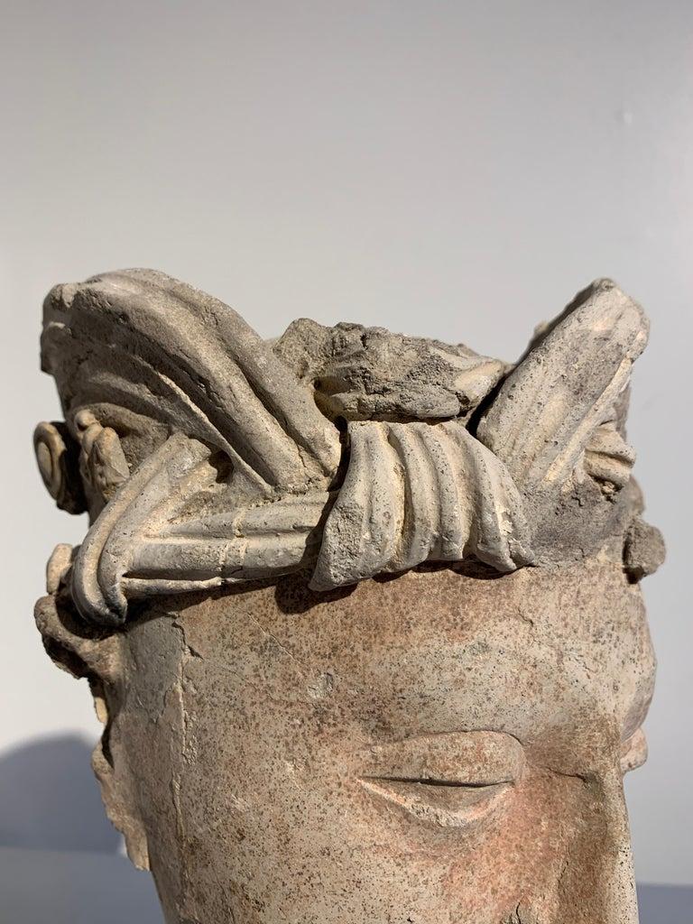 Gandharan Stucco Head of a Bodhisattva, Region of Hadda, 3rd-5th Century For Sale 9