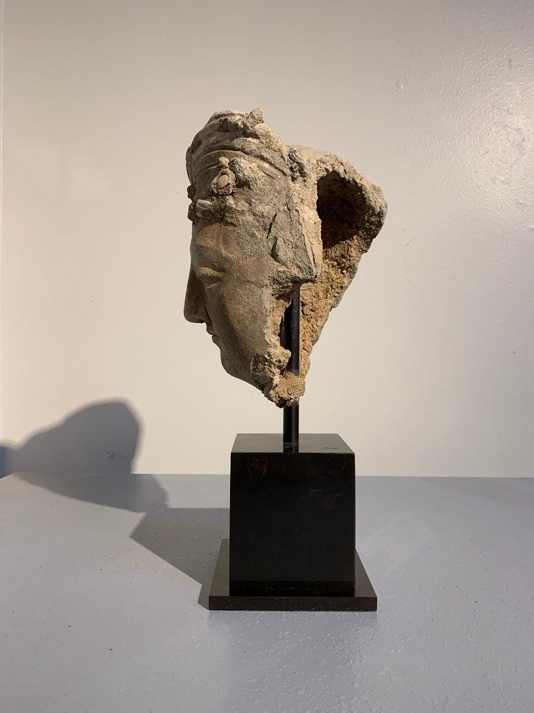Afghan Gandharan Stucco Head of a Bodhisattva, Region of Hadda, 3rd-5th Century For Sale