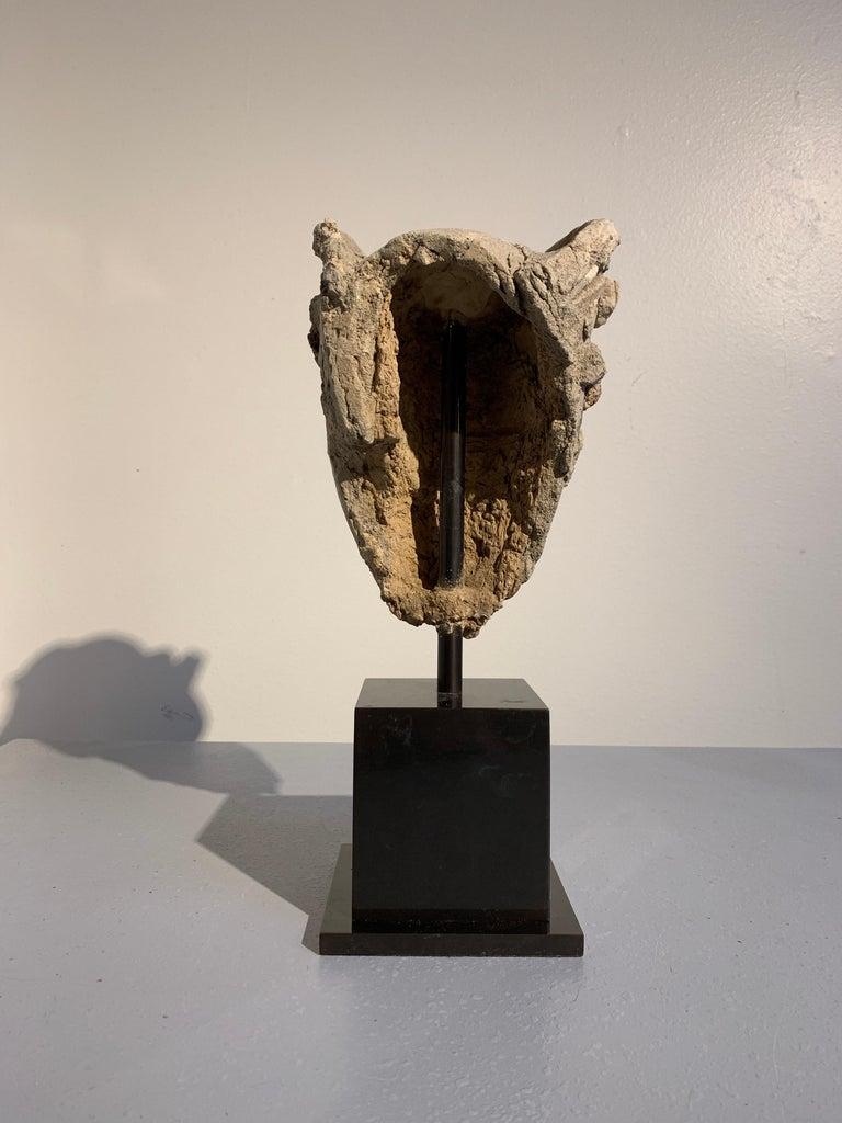 Molded Gandharan Stucco Head of a Bodhisattva, Region of Hadda, 3rd-5th Century For Sale