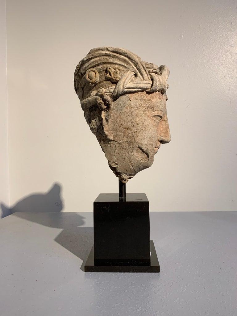 Gandharan Stucco Head of a Bodhisattva, Region of Hadda, 3rd-5th Century In Fair Condition For Sale In Austin, TX