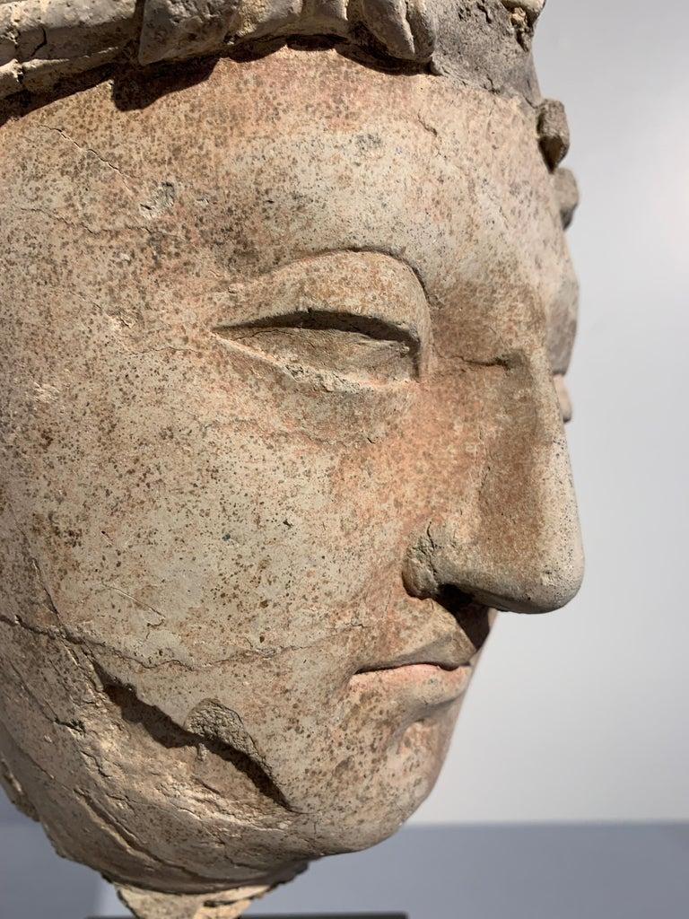 Gandharan Stucco Head of a Bodhisattva, Region of Hadda, 3rd-5th Century For Sale 1