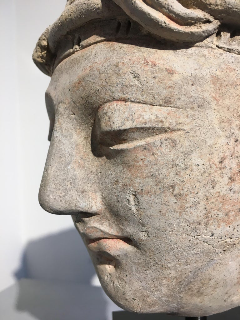 Gandharan Stucco Head of a Donor, 4th-5th Century For Sale 3