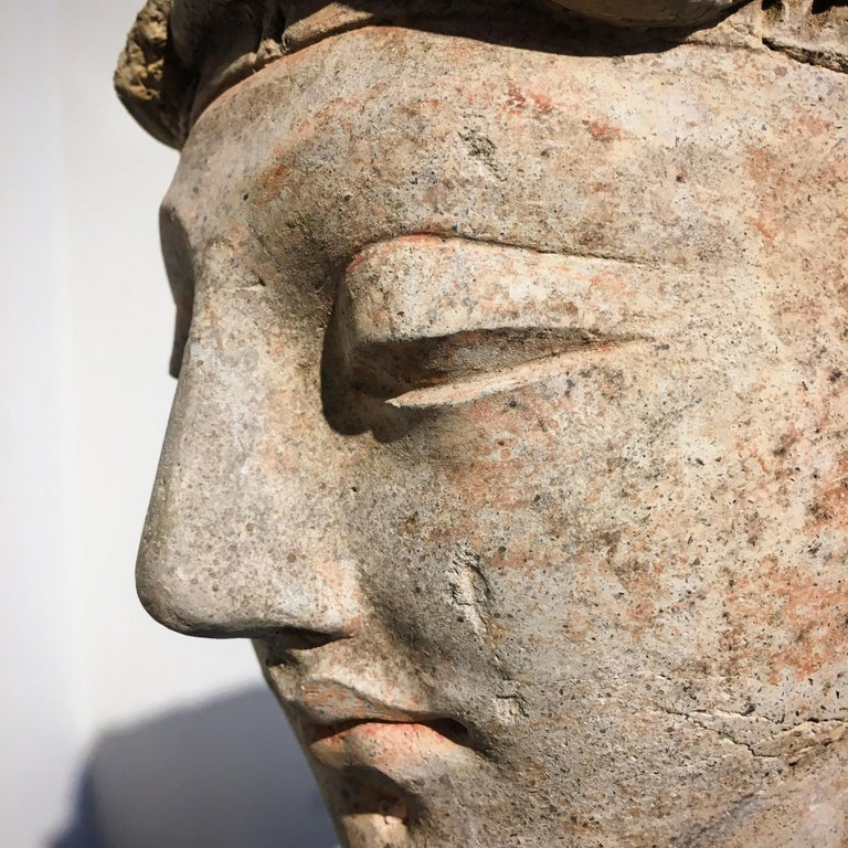 Gandharan Stucco Head of a Donor, 4th-5th Century For Sale 8