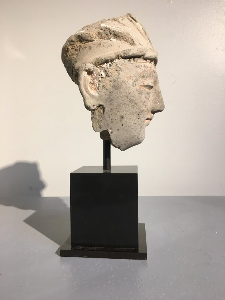 Hellenistic Gandharan Stucco Head of a Donor, 4th-5th Century For Sale