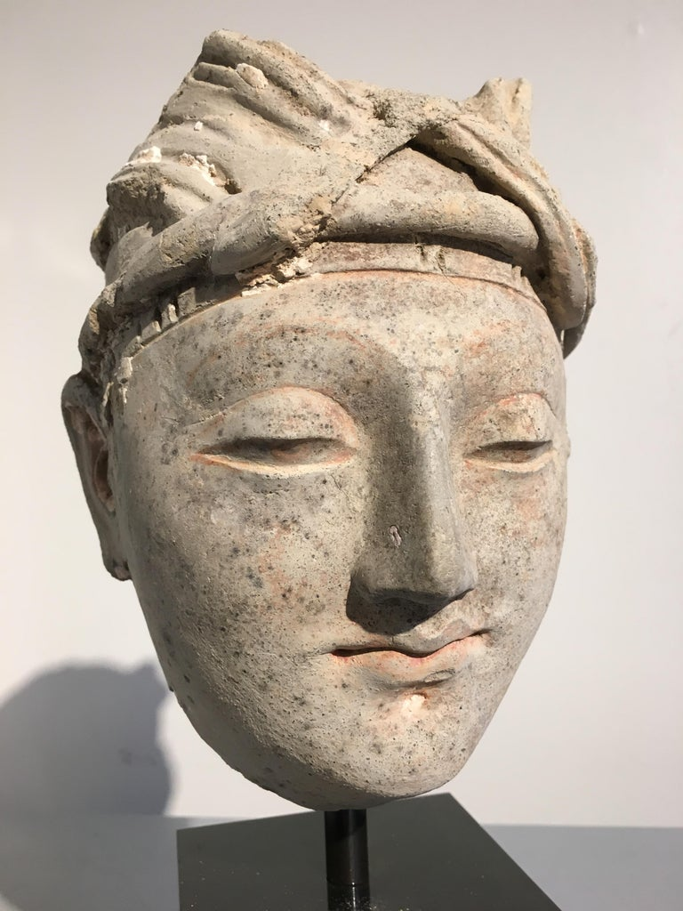 18th Century and Earlier Gandharan Stucco Head of a Donor, 4th-5th Century For Sale