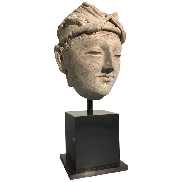 Gandharan Stucco Head of a Donor, 4th-5th Century For Sale