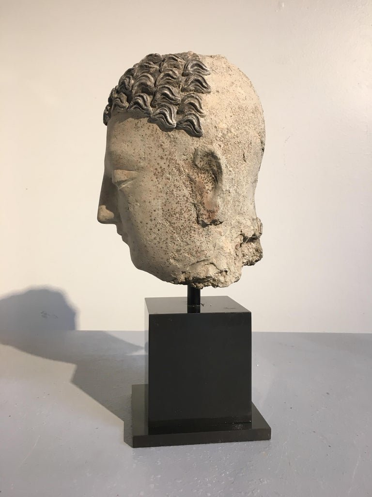 Hand-Carved Gandharan Stucco Head of the Buddha, 3rd-5th Century For Sale