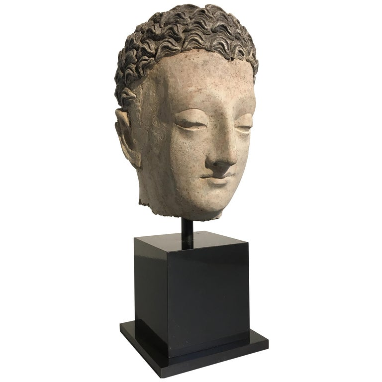 Gandharan Stucco Head of the Buddha, 3rd-5th Century For Sale