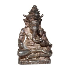 Ganesh Small Silver Hindu Diety Statue Amulet