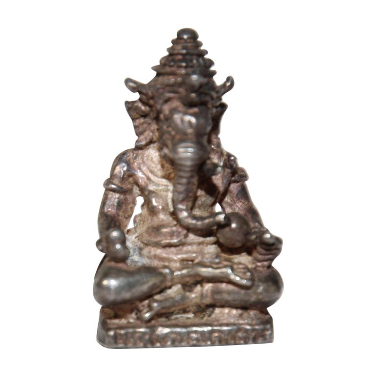 Ganesh Small Silver Hindu Diety Statue Amulet For Sale