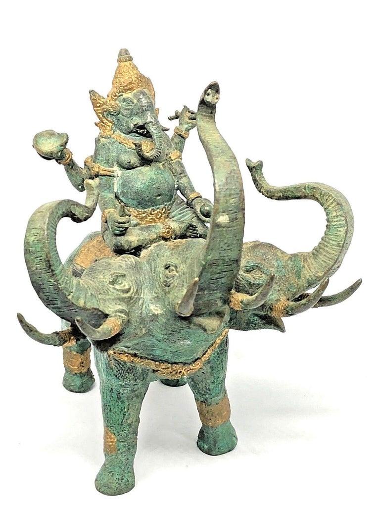 Ganesha Ridding Elephant Sculpture Statue Vintage 1950s