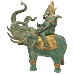 Ganesha Ridding Elephant Sculpture Statue Vintage 1950s India