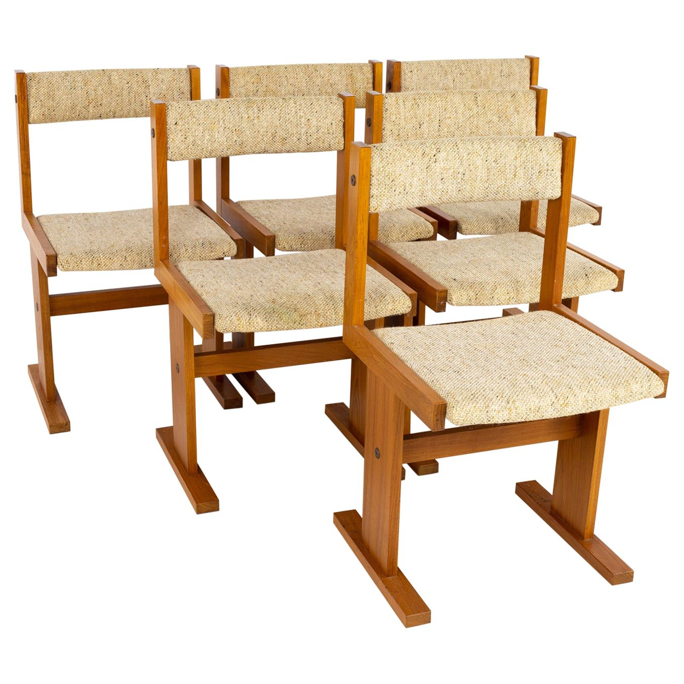Gangso Mobler Mid Century Teak Dining Chairs, Set of 6