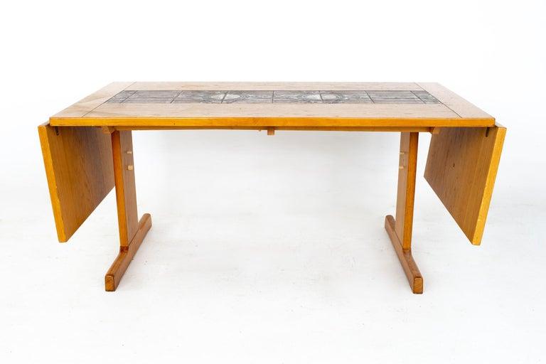 Gangso Mobler Mid Century Teak Tile Top Dropside Dining Table For Sale 3