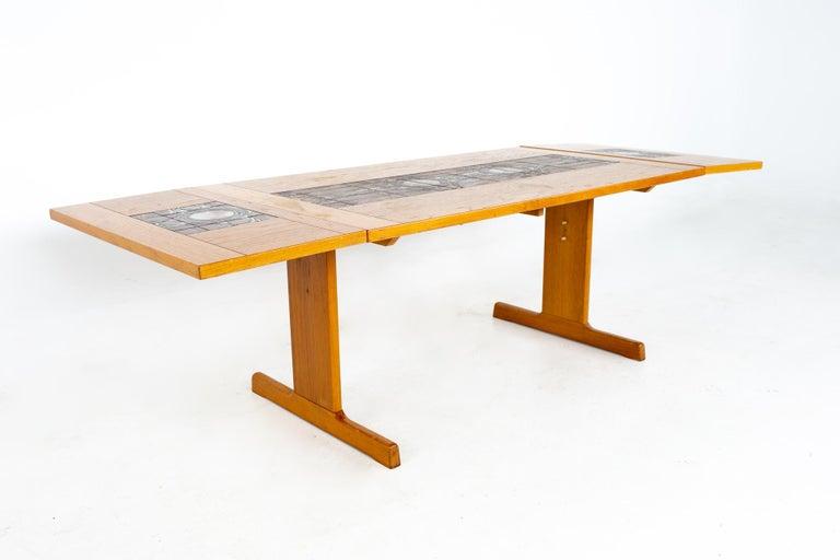 Gangso Mobler Mid Century Teak Tile Top Dropside Dining Table For Sale 4