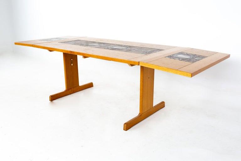 Gangso Mobler Mid Century Teak Tile Top Dropside Dining Table For Sale 5