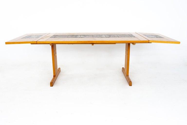 Gangso Mobler Mid Century Teak Tile Top Dropside Dining Table For Sale 6