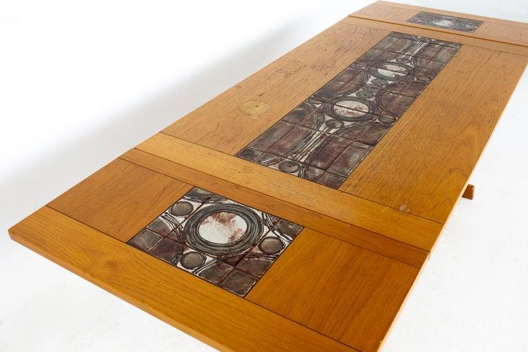 Gangso Mobler Mid Century Teak Tile Top Dropside Dining Table For Sale 7